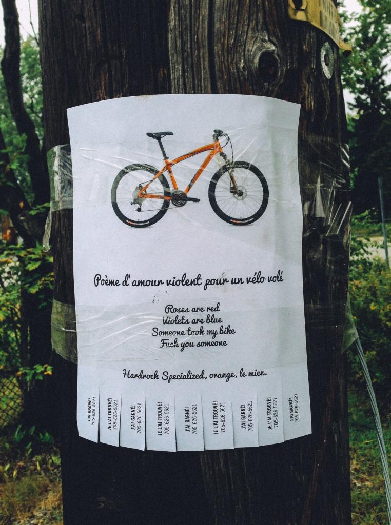 Poème d'amour violent pour un vélo volé